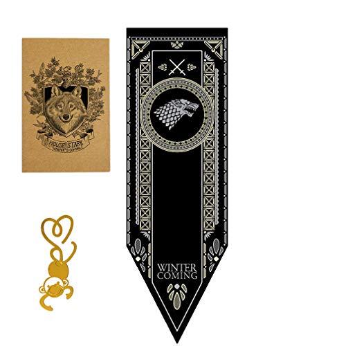 [150CM X 46CM] Gift for Game Banner Thrones póster, Casa de Juego de Tronos Bandera, Stark Flag para Bar House Party Decoration