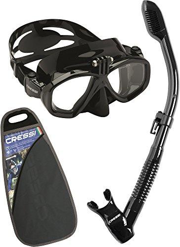 Cressi Action&Dry Kits Máscara Tubo, Unisex Adulto, Negro/Negro, Talla Única