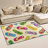 AURELIOR Colorful Flip Flops Area Rug Rugs Non-Slip Indoor Outdoor Floor Mat Doormats for Home Decor 60' x 39'
