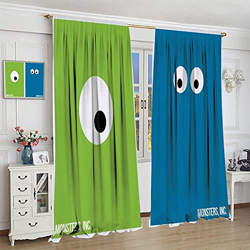 S-ANT Boys Games Room Darkening Curtain Mon-sters, Inc. for Bedroom Living Room Kids Room Dining Room Valance Colorful Window Drapes 55x63inch(140x160cm)