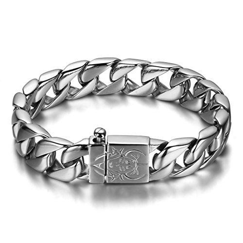JewelryWe Schmuck Edelstahl Herren Armband, Biker schwer Fahrradkette Armkette, Partnerarmband Armreif Silber 23cm Breite 15mm Vatertagsgeschenk