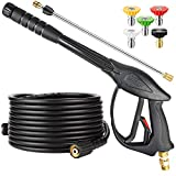 YAMATIC Pressure Washer Gun and Hose with Easy Pull Trigger, 3700 PSI Power Washer Gun Replacement for B&S, Honda, Excell, Simpson, Craftsman, Troy Bilt, Ryobi, Greenworks