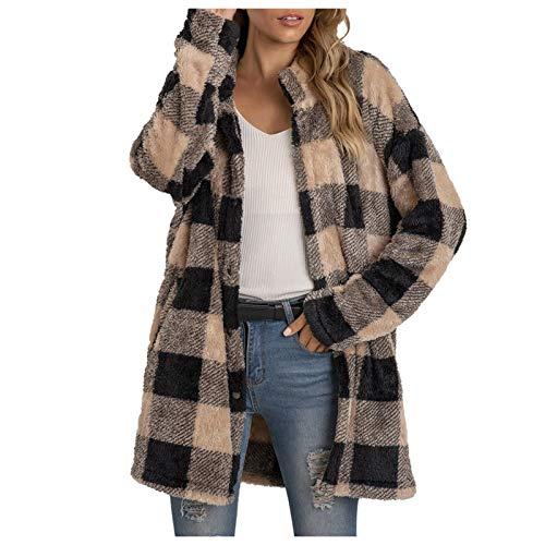 WYZTLNMA Oversize Womens Casual Christmas Jackets 2020 Autumn Winter Plaid Printing Loose Long Sleeve Buttons Plush Cardigan Coat Khaki