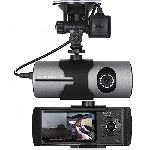 [US Stock] NOVPEAK 2.7 Inch TFT LCD Full HD Front & Rear Dual Camera Vehicle Car DVR Dash Cam Recorder Camcorder with 140 Wide Angle Lens, G-Sensor and GPS Trader - Retail Packing, Black