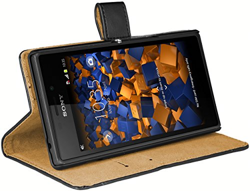 mumbi Echt Leder Bookstyle Case kompatibel mit Sony Xperia M2 Hülle Leder Tasche Case Wallet, schwarz