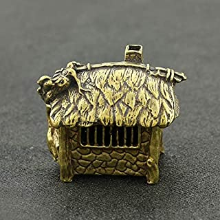 LHSY Creative Mini Brass Cottage House Statue Copper Props Sculpture Home Office Party Bar Desk Decoration Ornament Funny ...
