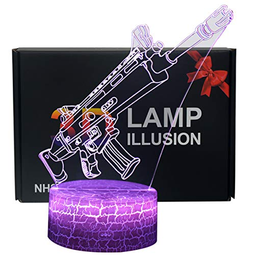 3D Illusion Night Light 7 Colors LED Touch Table Lamp with Remote Control for Kids Birthday Gift (Assault)