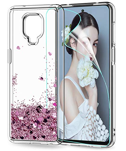 LeYi für Xiaomi Redmi Note 9S Hülle Note 9 Pro/Note 9 Pro Max Glitzer Handyhülle,Cover TPU Clear Schutzhülle für Hülle Xiaomi Redmi Note 9 Pro Handy Hüllen ZX Rosegold