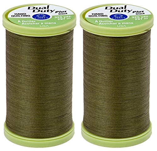 Coats & Clark - 2-Pack Bundle - Dual Duty Plus Hand Quilting Thread 325 Yards Bronze Green s960-6360