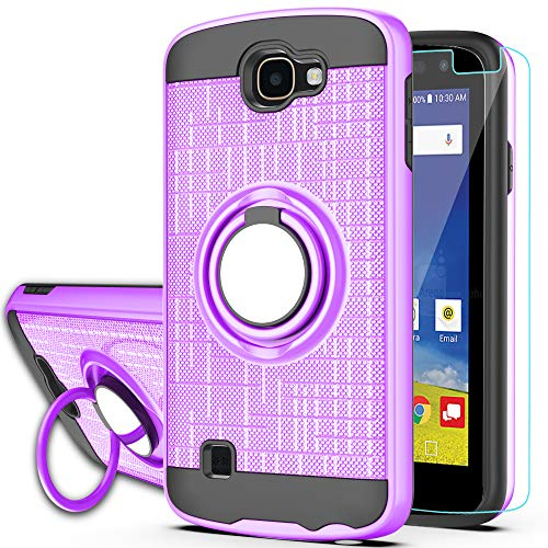 LG Optimus Zone 3 Case, LG Spree Case,LG Rebel LTE Case with HD Phone Screen Protector,Ymhxcy 360 Degree Rotating Ring & Bracket Dual Layer Resistant Back Cover for LG K4 (2016)/VS425-ZH Purple