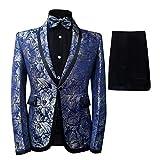 Boyland Boys Tuxedo Suit Floral Shawl Lapel Slim Fit Elegant Blue Suit Set (Blazer+Pants+Bowtie) …