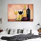 GJQFJBS Impression sur Toile Fruits Verre À Vin Boisson Bière Baril Cuisine Décoration Champagne Salon Maison Art Décoration A4 60x80 cm