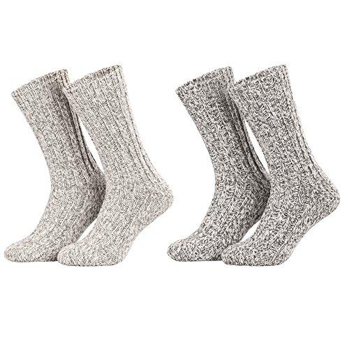 Piarini - 4 pares de calcetines noruegos muy cálidos - Gris
