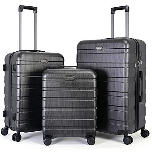 BONTOUR Kofferset Suitcase Set, Hartschalenkoffer 4 Rollen aus Polycarbonat Material mit TSA-Schloss (Anthrazitgrau, Kofferset 3 teilig)