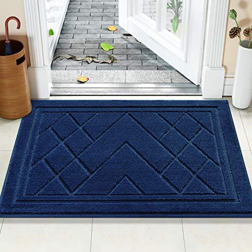 Color&Geometry Felpudo Entrada Casa Alfombra para Puertal Felpudos Atrapar Suciedad Interior y Exterior Alfombras Lavable Absorbente 50 x 80 cm, Azul