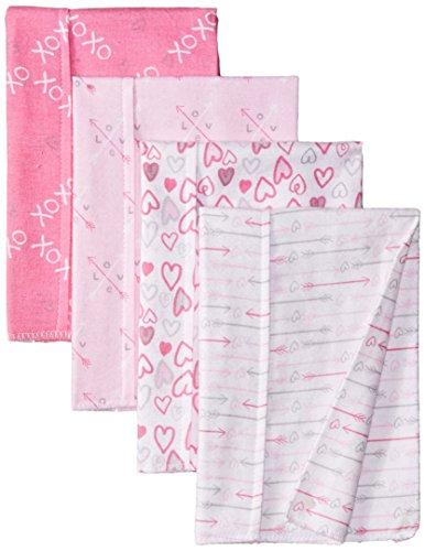 Luvable Friends Unisex Baby Cotton Flannel Burp Cloths, Love, One Size