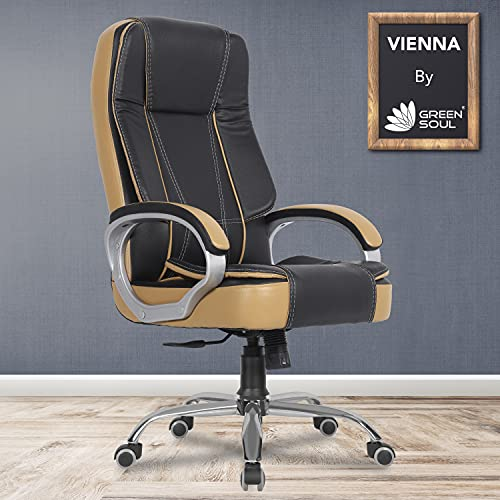 Green Soul® Vienna High Back Leatherette Executive Office Ergonomic Chair with Multi Color Options (Black Tan)