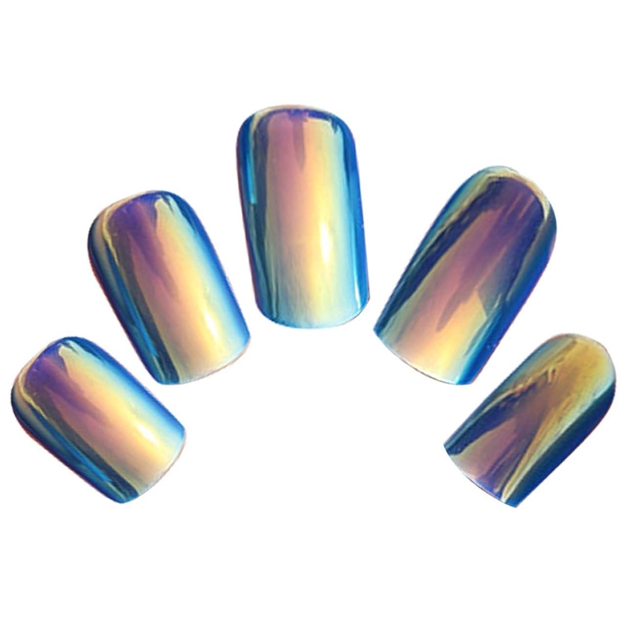 周り等信頼性ゴシレ Gosear 24 個 12 サイズ ネイルチップ 人工偽爪のヒント 青色