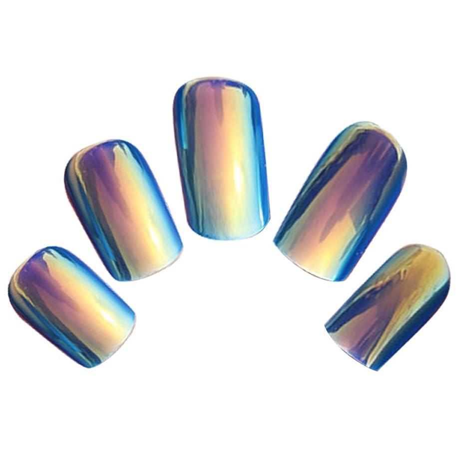 ビジョンビジュアル血色の良いゴシレ Gosear 24 個 12 サイズ ネイルチップ 人工偽爪のヒント 青色