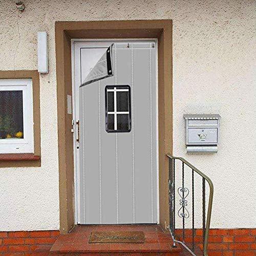 ZXL Hellgrauer Türvorhang Wärmeschutz mit Fenster Warmdämmung Eingangstürfüllung Kaltblockierung Wasserdicht Winddicht Raumteiler Noise Ruduce (Größe: 90cmx230cm)