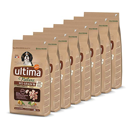 Ultima Nature No Grain Pienso para Perros Mini sin Cereales con Pavo, Pack de 8 x 1.1kg - Total: 8.8Kg