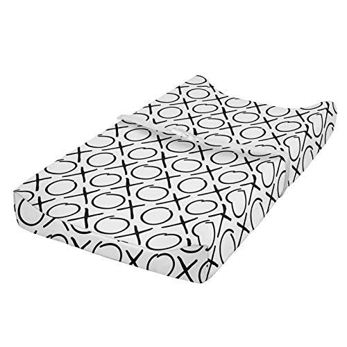 ABAKUHAUS xo Cubierta del cambiador, Estilo monocromático garabatos, Funda blanda para el cambiador de pañales con agujeros para la hebilla de seguridad, En blanco y negro