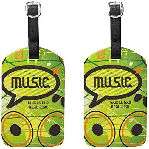 Musik Lautsprecher Symbole Gepäckanhänger Tasche Reiseetiketten für Gepäck Koffer 2PCS