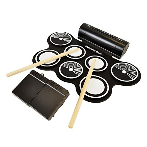 Pyle Electronic Roll Up MIDI Drum Kit W/ 7 Electric Drum Pads, Built-In Speakers, Foot Pedals, Drumsticks, Power Supply Tabletop Roll Up Drum Kit | Loaded W/Drum Electric Kits & Songs (PTEDRL12)
