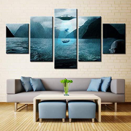 Schilderij modulaire goedkope foto's van moderne 5 board ruimteschip woonkamer kunst muur woondecoratie kunstwerk canvas print