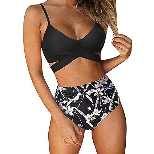 OrientalPort Damen Badeanzug Bikini Set Hochdrücken Crossover-Bikini-Oberteile und Hoher Taille Wickel Bikinihose Tiefer V Ausschnitt Bademode Zweiteiliger Strandbikini