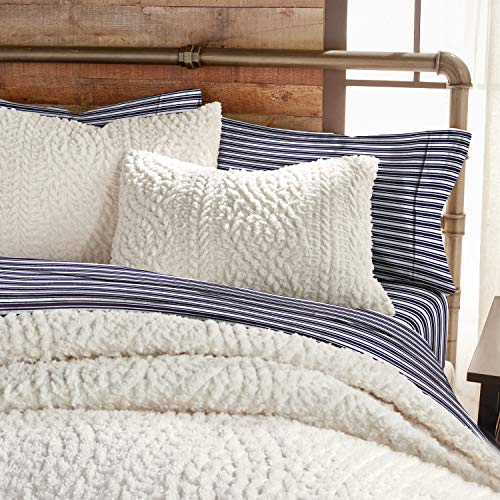 G.H. Bass Plush Sherpa Cable Knit Fluffy Soft Solid Pinsonic Cozy Comforter Set, Full/Queen, Ivory