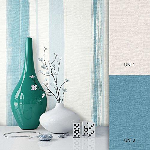 NEWROOM Tapete Blau Streifen Linien Modern Vliestapete Vlies moderne Design Optik Streifentapete Landhaus inkl. Tapezier Ratgeber