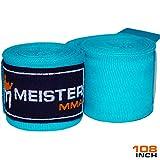 Meister Junior 108' Vendas para Manos de algodón elásticas para MMA y Boxeo (Par) - Turquesa