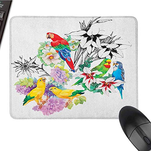 Parrot Smooth Mouse pad Surface Parrots Observing The World on Top of Floral Foliage Garden Jungle Tropic Bird Print Non-Slip Rectangular Mouse pad W8 x L9.5 x H0.8 Inch Multicolor