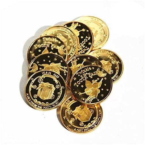IVLWE Tooth Fairy Coin [4pcs] Tooth Fairy Golden Coin Experience for Lost Tooth Kids-NO Fading |