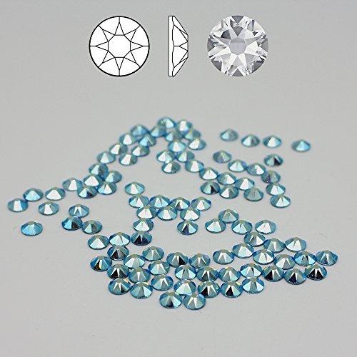 Christoph Palme Leuchten 100 Stück Swarovski 2088 Strass-Steine ø 4 mm SS16 Fix XIRIUS Rose Aquamarine Aurore Boreale Blau zum kleben Glitzersteine Schmucksteine