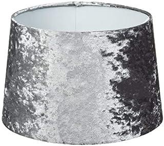 Moderna pantalla de terciopelo plateado cónica gris | Lámpara de mesa o techo colgante decoración de habitación