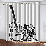 GenericBrands Cortinas Opacas - Boceto Botas Guitarra - Cortinas Opacas Dormitorio - Cortinas Opacas De Ojetes para Ventanas De Salón Dormitorio Oficina-W168X183cmX2 Panel