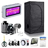 BloomGrow 24''x24''x48'' Grow Tent + 4'' Inline Fan Filter Duct Combo + 300W LED Light + Hangers + Hygrometer + Shears + 24 Hour Timer + Trellis Netting Indoor Grow Tent Complete Kit