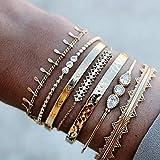 Branets Juego de pulseras de cristal en capas Boho, brazaletes con borlas de oro, joyería de cadena de mano de diamantes de imitación para mujeres y niñas (7 piezas)