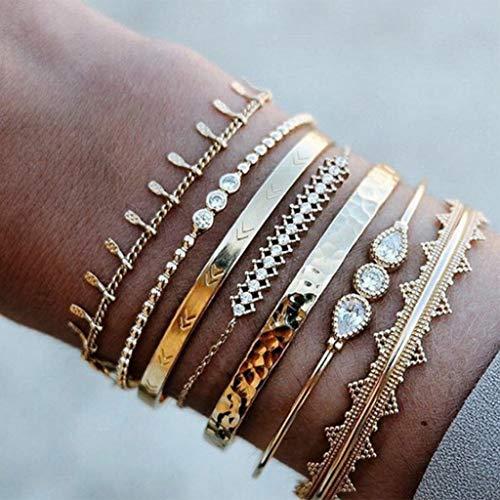 Branets Armband-Set mit Strass, Gold, Quaste Armband, mit Boho Crystal Armreifen Modeschmuck für Damen und Mädchen (7 Stück)