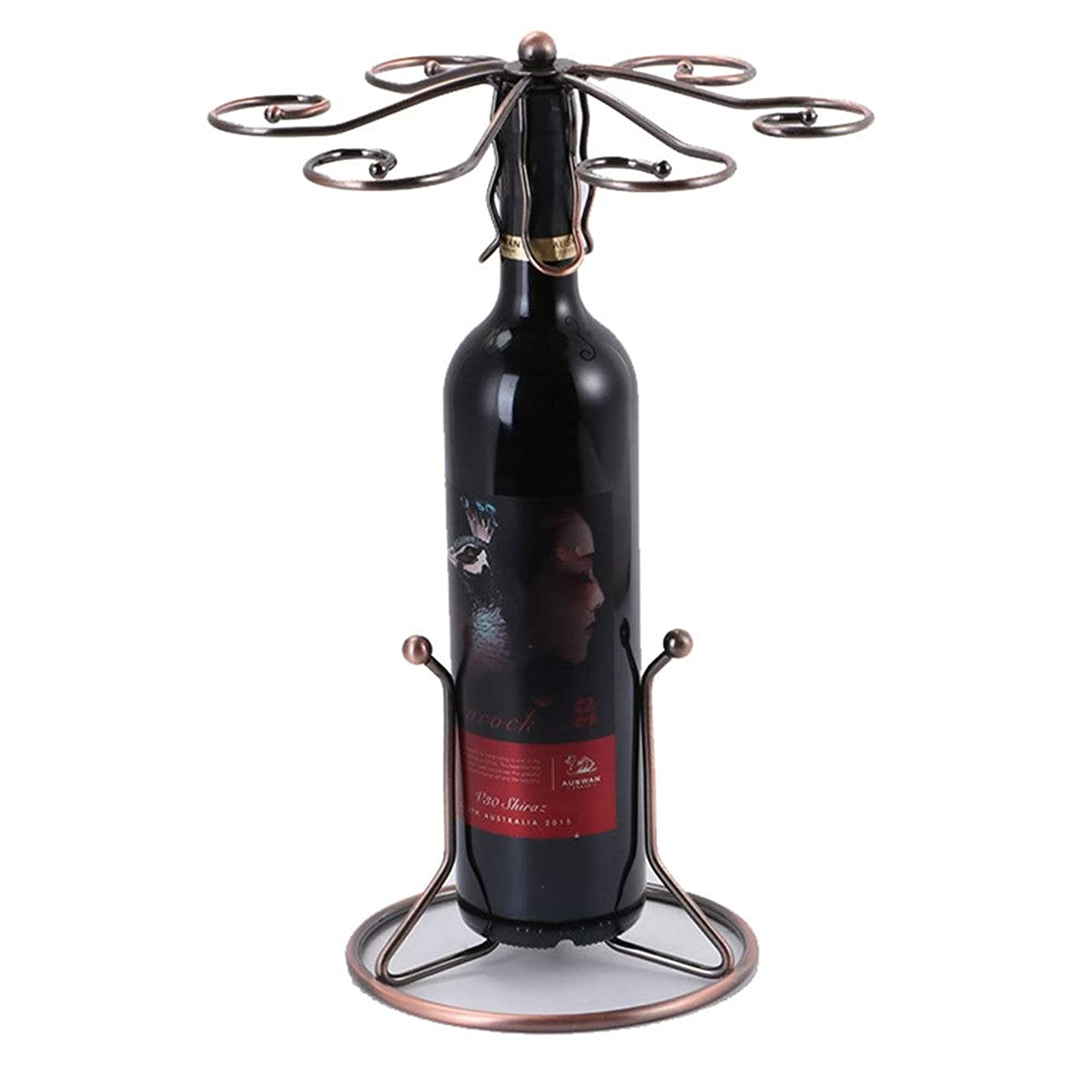 脚階下知らせるワイングラスホルダー メタルワインボトルとガラスホルダーディスプレイスタンドワイングラスラック6フック自立卓上脚付きグラスラックハンガー空気乾燥システム   (色 : ブロンズ, サイズ : ワンサイズ)