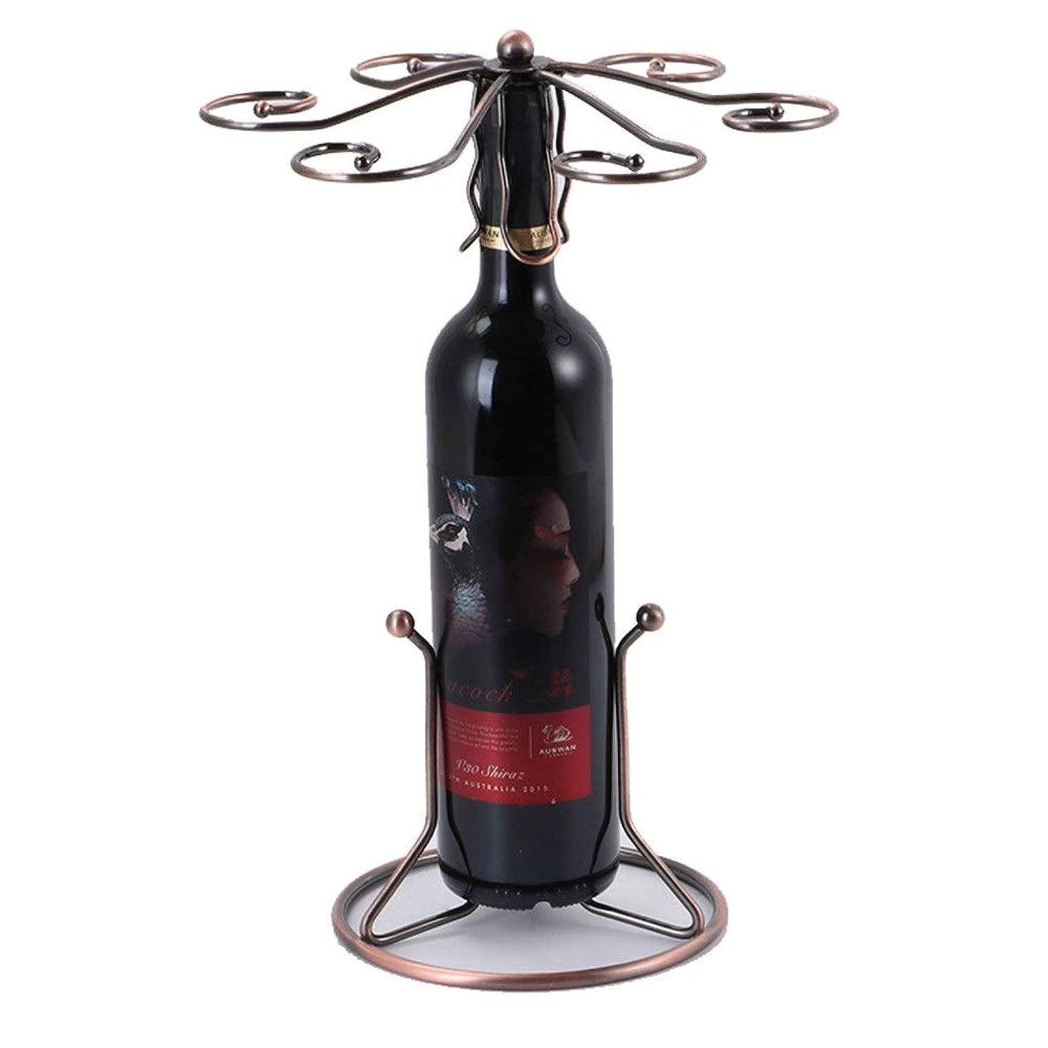 悲劇閉じる九月ゴブレットホルダー メタルワインボトルワインラック6フック自立デスクトップゴブレットラックハンガー ファミリーレストランバーパーティーで使用できます (色 : ブロンズ, サイズ : ワンサイズ)