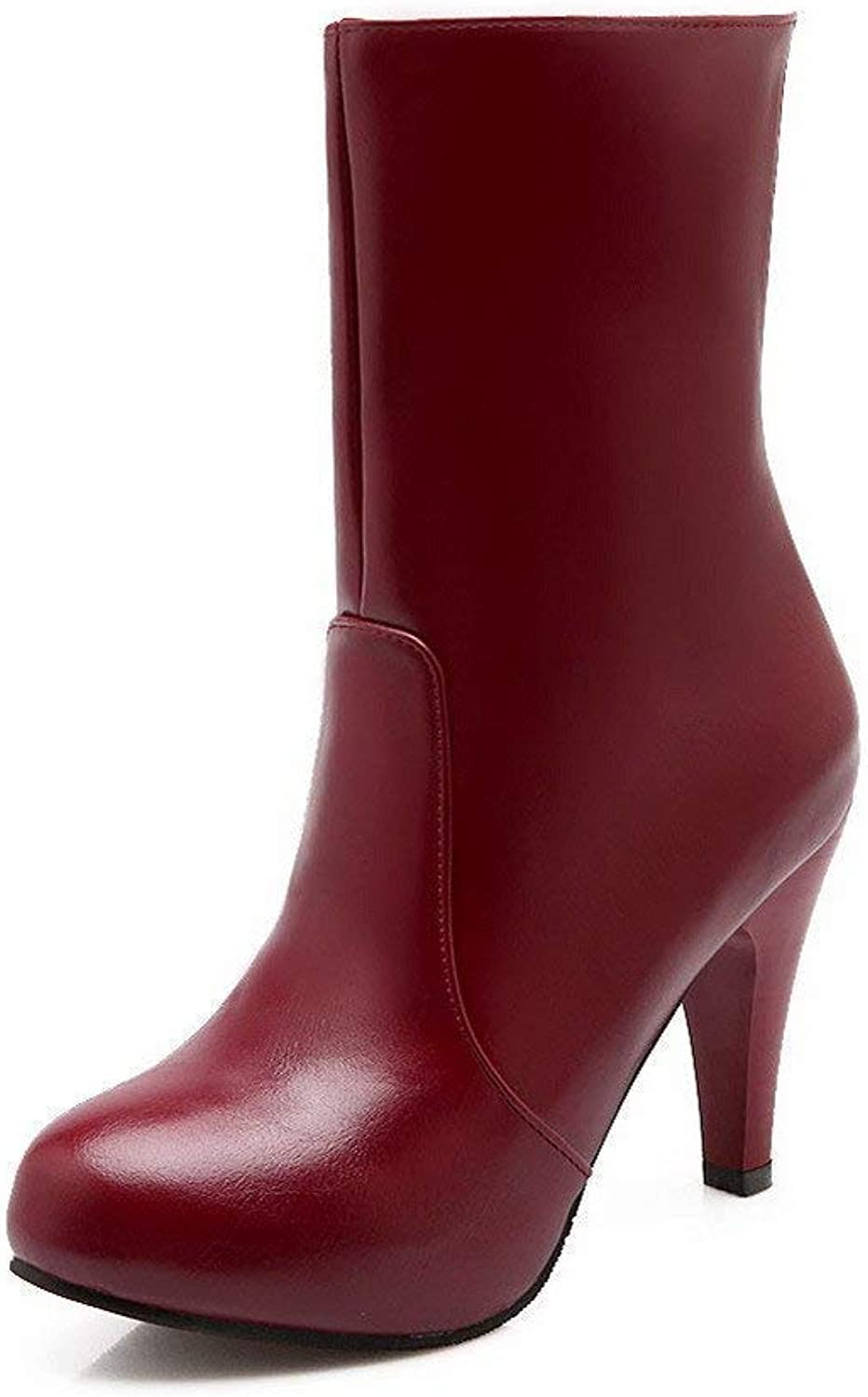 PRETTYHOMEL Women's High-Heels Solid Closed Round Toe Soft Leather Zipper Boots(0 0)