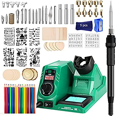 Wood Burning Kit, 82PC Upgraded 60W Digital Wood Burning Tool with LED Display and ℃/℉ Switch, Adjustable Temperature Wood Burner Tool with Auto Sleep for Embossing/Carving/Soldering