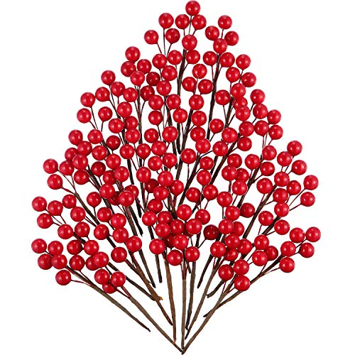 360 Pieces Artificial Holly Berries Christmas Winter Fake Berries Bunch Faux Cranberries Bunch on 60 Stems for Table Centerpiece (Red)