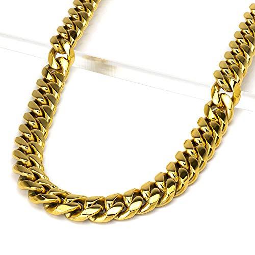 Northern creek necklace ネックレス チェーン 喜平 Miami Cuban キューバ チェーン メンズ 幅12 mm ステンレス HIPHOP ヒップホップ ラッパー ファッションジュエリー 色 ゴールド