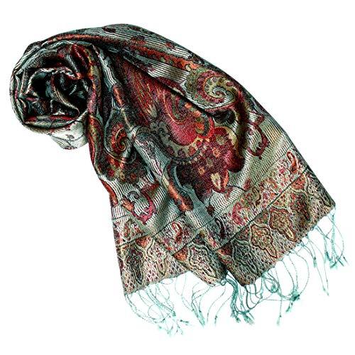 Lorenzo Cana Luxus Seidenschal für Frauen Schal 100% Seide gewebt Damenschal elegant Paisley Muster Mehrfarbig, Graugrün-mehrfarbig, 35 x 160 cm