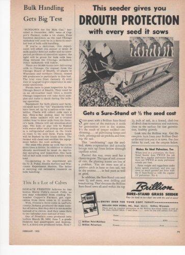 Brillion Sure-Stand Grass Seeder Pasture Hay 1953 Farm Antique Advertisement