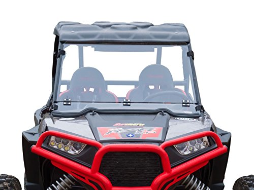 SuperATV Heavy Duty Scratch Resistant Flip Down/Folding/Tilt 2-IN-1 Windshield for 2015+ Polaris RZR 900 / S 900/4 900 - Clear Scratch Resistant (Hard Coated)